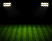 Soccer field arena. Soccer stadium at night with spotlight  background Royalty Free Stock Photo