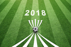 Soccer field 2018 with arrows Royalty Free Stock Photo