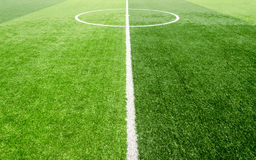 Soccer field, artificial green grass Royalty Free Stock Images