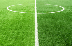 Soccer field, artificial green grass Royalty Free Stock Image