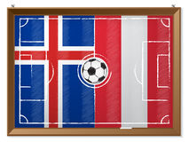 Soccer field with austrian and iceland flag Royalty Free Stock Image