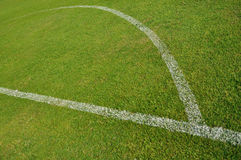 Soccer field background. Green soccer field with white line Royalty Free Stock Images