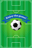 Soccer field background. Vector illustration of a soccer field with a ball in and a banner that reads Enjoy the game Royalty Free Illustration