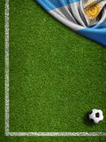 Soccer Field Background With Ball And Flag Of Argentina