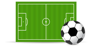 Soccer field and ball Royalty Free Stock Photos