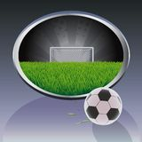 Soccer   field and ball. Stock Photos