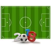 2018 soccer field soccer ball 3d illustration. Design Royalty Free Stock Images