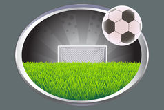 Soccer field with ball. Royalty Free Stock Photo