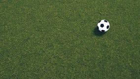 Soccer field. Soccer ball on green grass Stock Photo