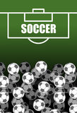Soccer field and Ball. Lot of balls. football background. Sports Royalty Free Stock Photos