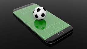 Soccer field with ball on smartphone edge display Stock Images