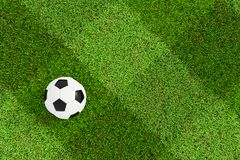 Soccer field and ball top view background - Checkered Texture.  Stock Photography