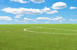 Soccer field and blue sky Royalty Free Stock Images