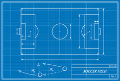 Soccer field on blueprint. Image of soccer field on blueprint. Transparency used Stock Images
