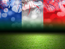 Soccer field and bokeh with france flag. With copy space Stock Photography