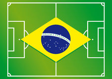 Soccer field brazil flag Stock Images