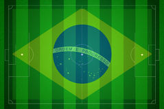 Soccer field with Brazil map world cup 2014. Royalty Free Stock Photos
