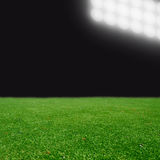Soccer field with bright lights Royalty Free Stock Photos