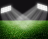 Soccer field with bright lights Royalty Free Stock Images