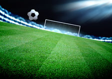 Soccer. Field and the bright lights royalty free stock photo