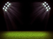 Soccer field and bright lights Royalty Free Stock Images