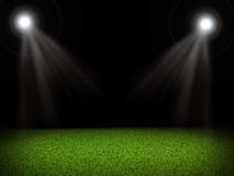 Soccer field and bright lights Royalty Free Stock Photography