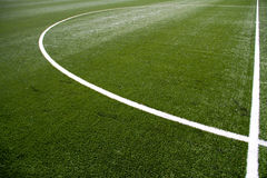 Soccer Field Center. Closeup on white soccer field lines stock photography