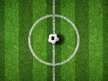 Soccer field center and ball top view Royalty Free Stock Photo