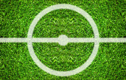Soccer field center and ball top view background Royalty Free Stock Image