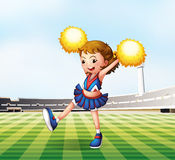 A soccer field with a cheerdancer. Illustration of a soccer field with a cheerdancer Stock Photos