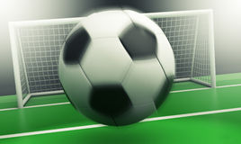 Soccer field. Close-up view of a soccer field with a ball going towards the goal, motion blur effect on the ball (3d render Stock Images