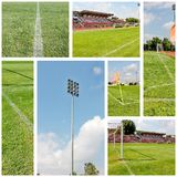 Soccer field collage Stock Images