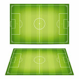 Soccer field collection. Football fields. Top view and perspective view. Vector Royalty Free Stock Image