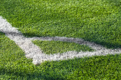 Soccer field corner Stock Images
