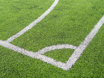 Soccer field, corner side, made from synthetic lawn Stock Photo