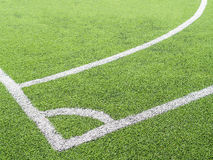 Soccer field, corner side, made from synthetic lawn Royalty Free Stock Photos
