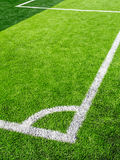 Soccer field, corner side, made from synthetic lawn Stock Photography