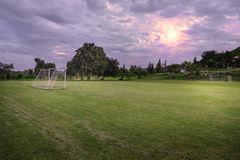 Soccer field in the countryside. Soccer field with cloudy in the countryside Royalty Free Stock Images