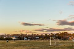 Soccer field in the countryside royalty free stock photo
