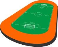 Soccer field 3d. Clear green football or soccer field. Vector illustration 3d design clip art Stock Images