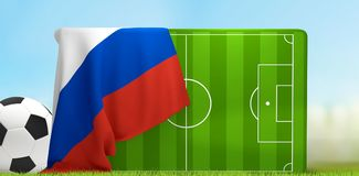 Soccer field 3D illustration with soccer ball and flag of Russia. Design Stock Photos