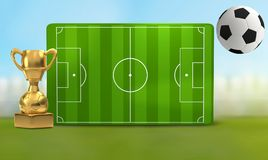Soccer field 3D illustration with soccer ball and trophy. Design Royalty Free Stock Images