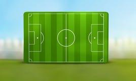 Soccer field 3D illustration. Design Royalty Free Stock Photo