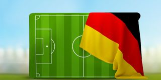 Soccer field 3D illustration with flag of Germany. Design Royalty Free Stock Photos