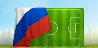 Soccer field 3D illustration with flag of Russia. Design Royalty Free Stock Images