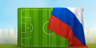 Soccer field 3D illustration with flag of Russia. Design Stock Photo