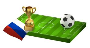 Soccer field 3D illustration with flag of Russia and golden trop. Hy design Stock Image