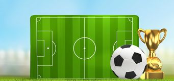 Soccer field 3D illustration with golden trophy and soccer ball. Design Stock Image
