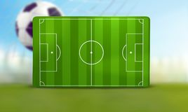 Soccer field 3D illustration with one soccer ball. Design Royalty Free Stock Photography