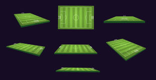 Soccer Field 3d Illustration Set on different views and angles Stock Images